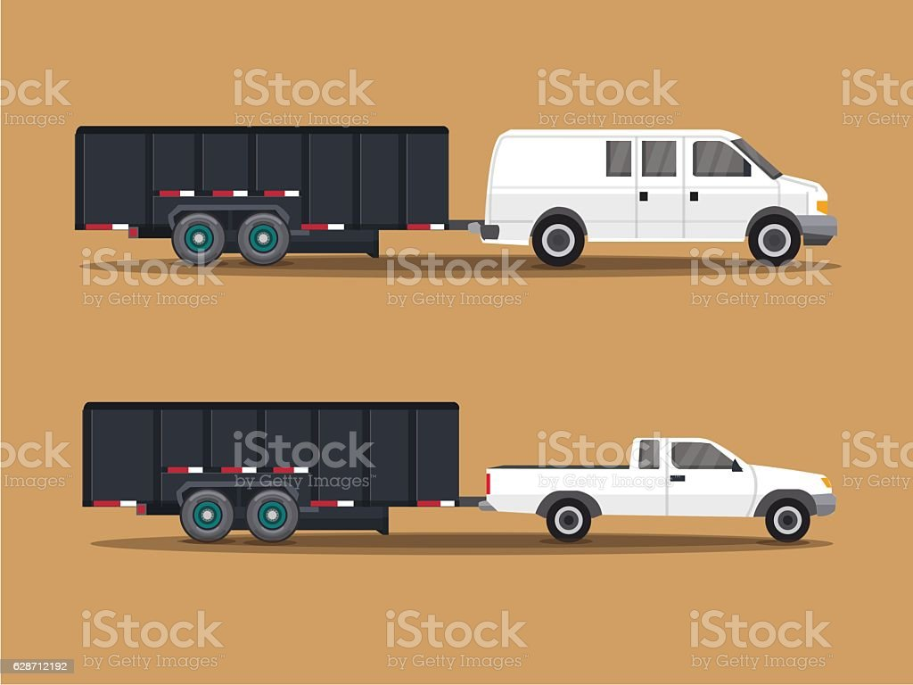 van truck set vector illustration vector art illustration