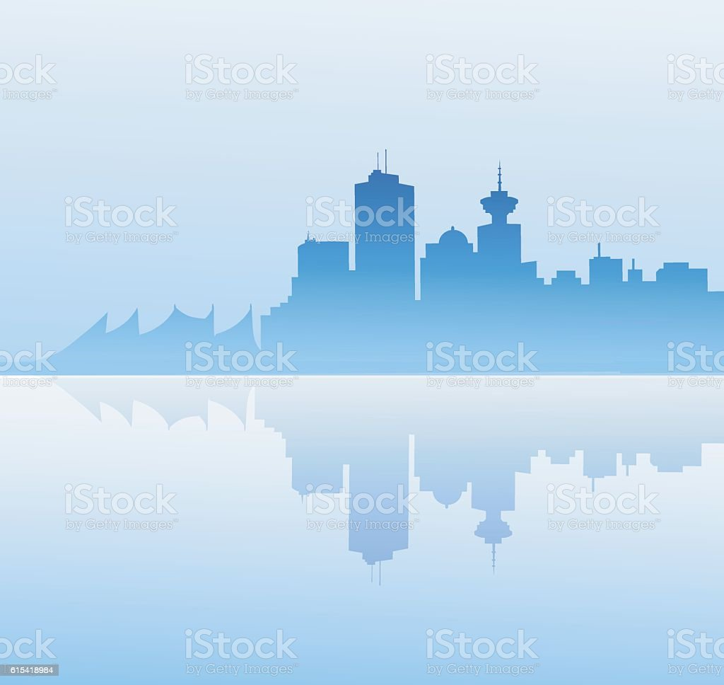 Vancouver at Early Morning vector art illustration
