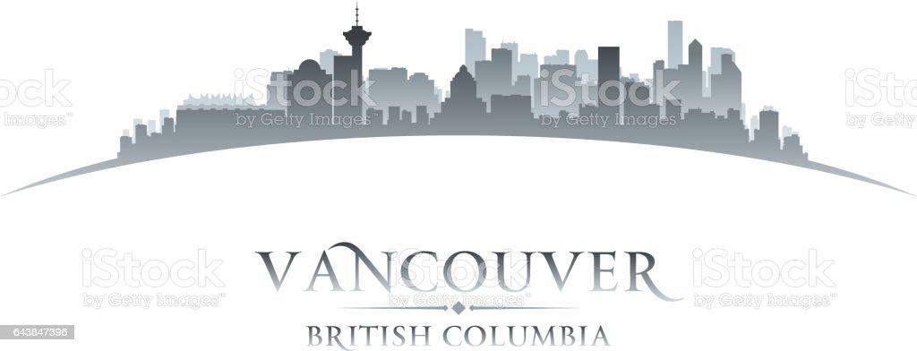 Vancouver British Columbia Canada city skyline silhouette vector art illustration