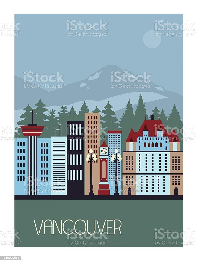 Vancouver Canada. Vector vector art illustration