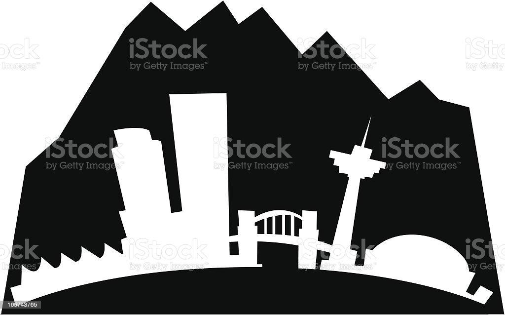 Vancouver Cartoon City vector art illustration