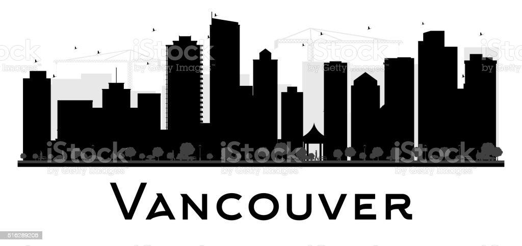 Vancouver City skyline black and white silhouette. vector art illustration