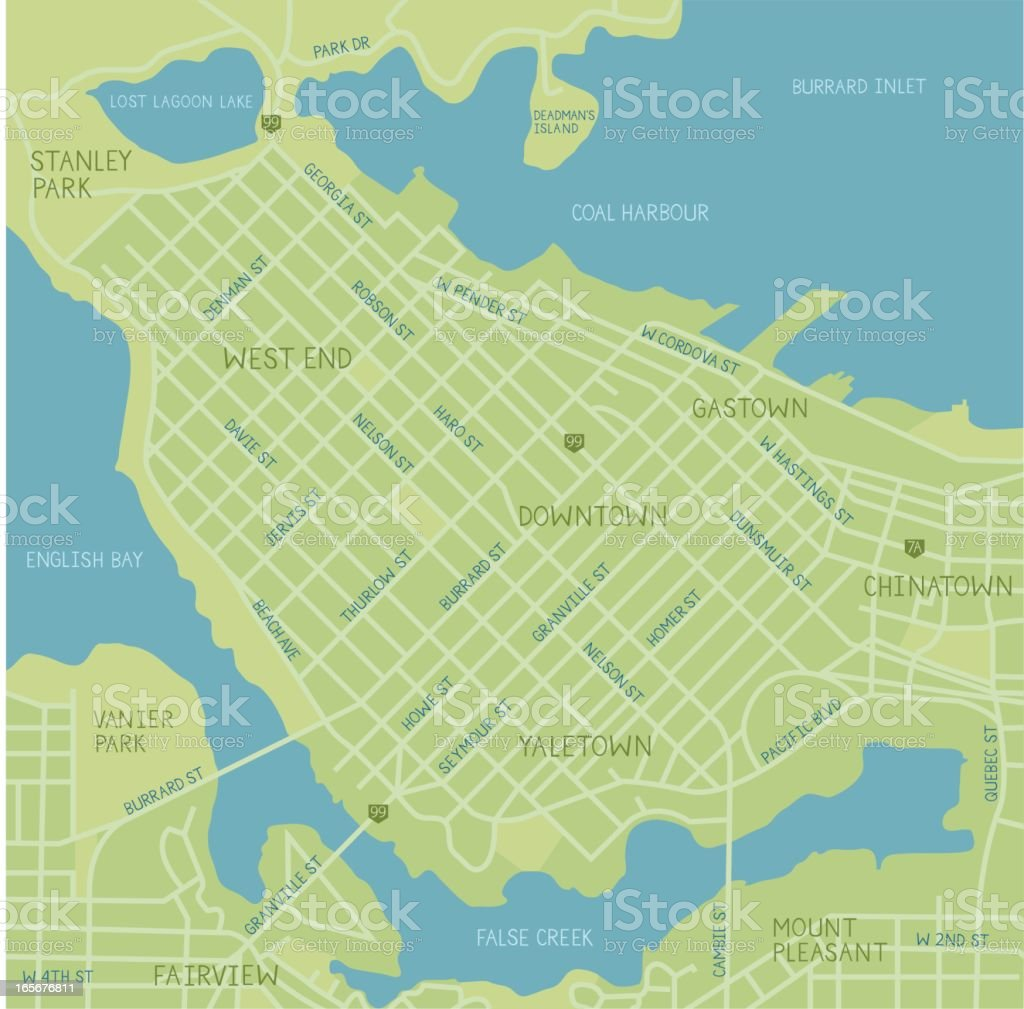 Vancouver Downtown Map vector art illustration