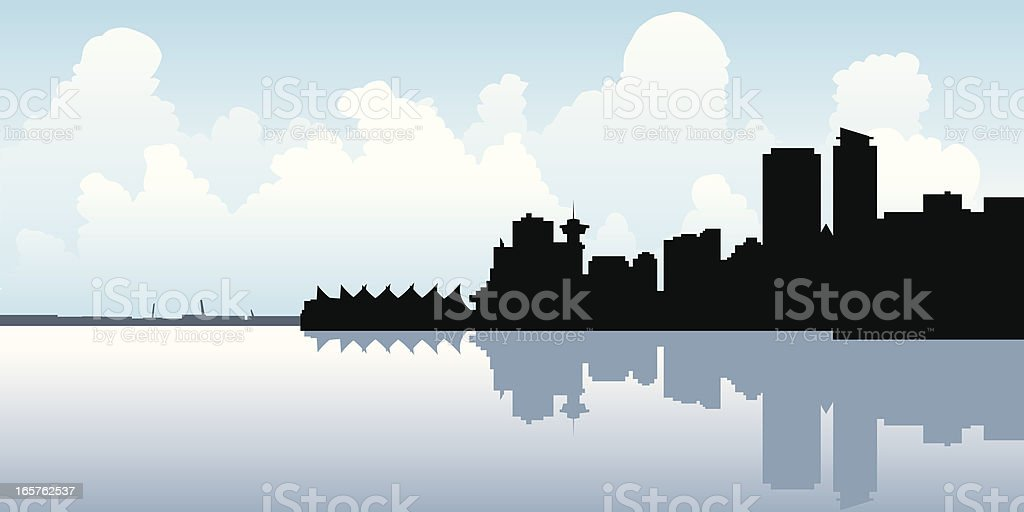 Vancouver Skyline Silhouette royalty-free stock vector art