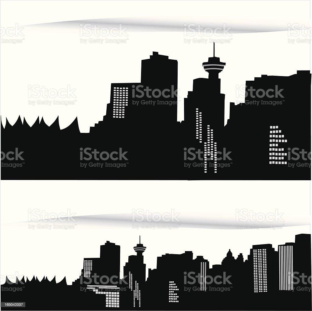 Vancouver Skyline Vector Silhouette vector art illustration