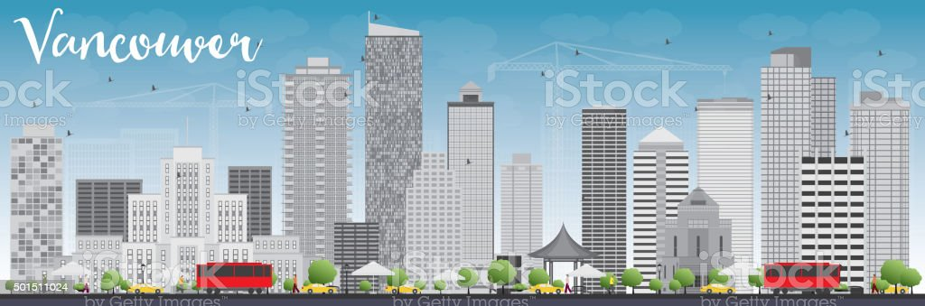 Vancouver skyline with grey buildings and blue sky. vector art illustration