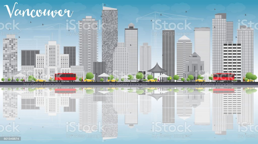 Vancouver skyline with grey buildings, blue sky and reflections. vector art illustration