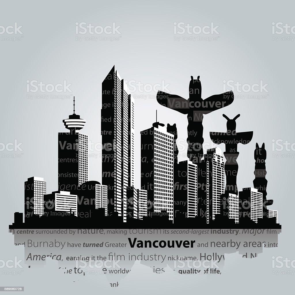 Vancouver vector cityscape. vector art illustration