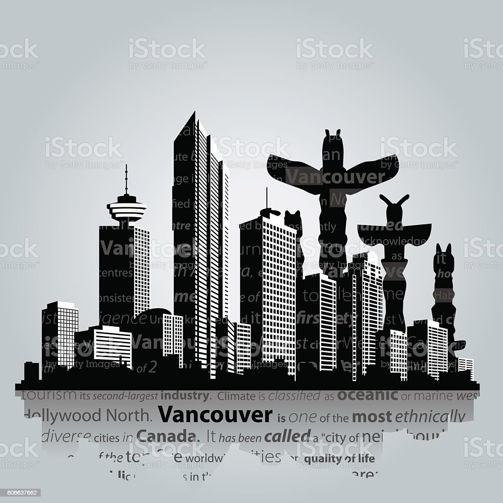 Vancouver vector cityscape. vector art illustration