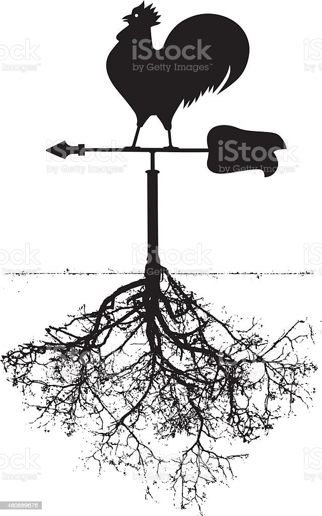 vane with cock and roots vector art illustration