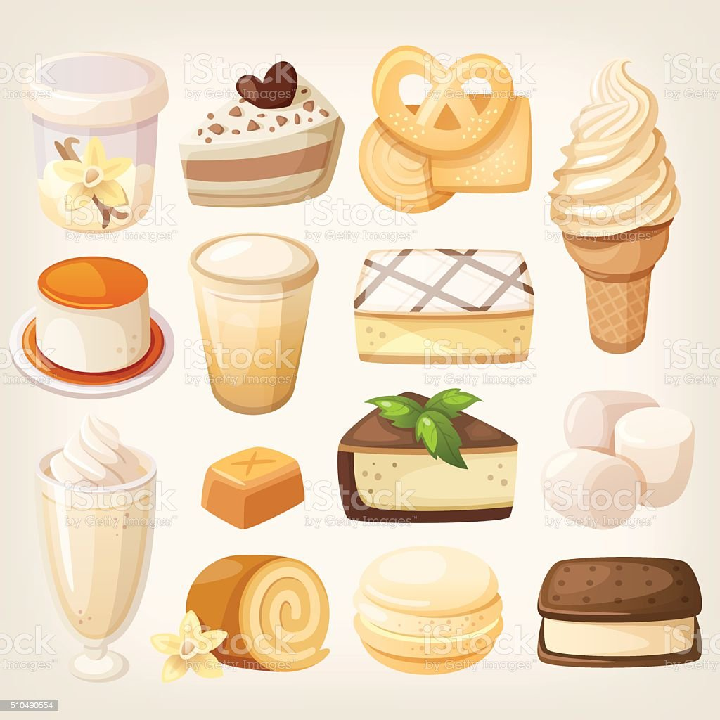 Vanilla desserts vector art illustration