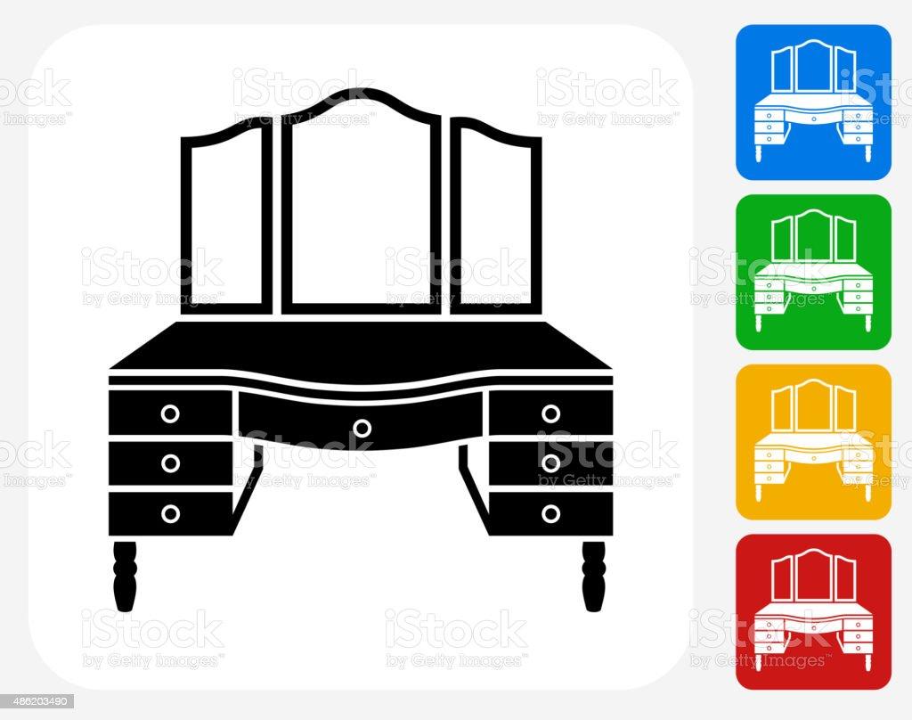 Vanity Set Icon Flat Graphic Design vector art illustration