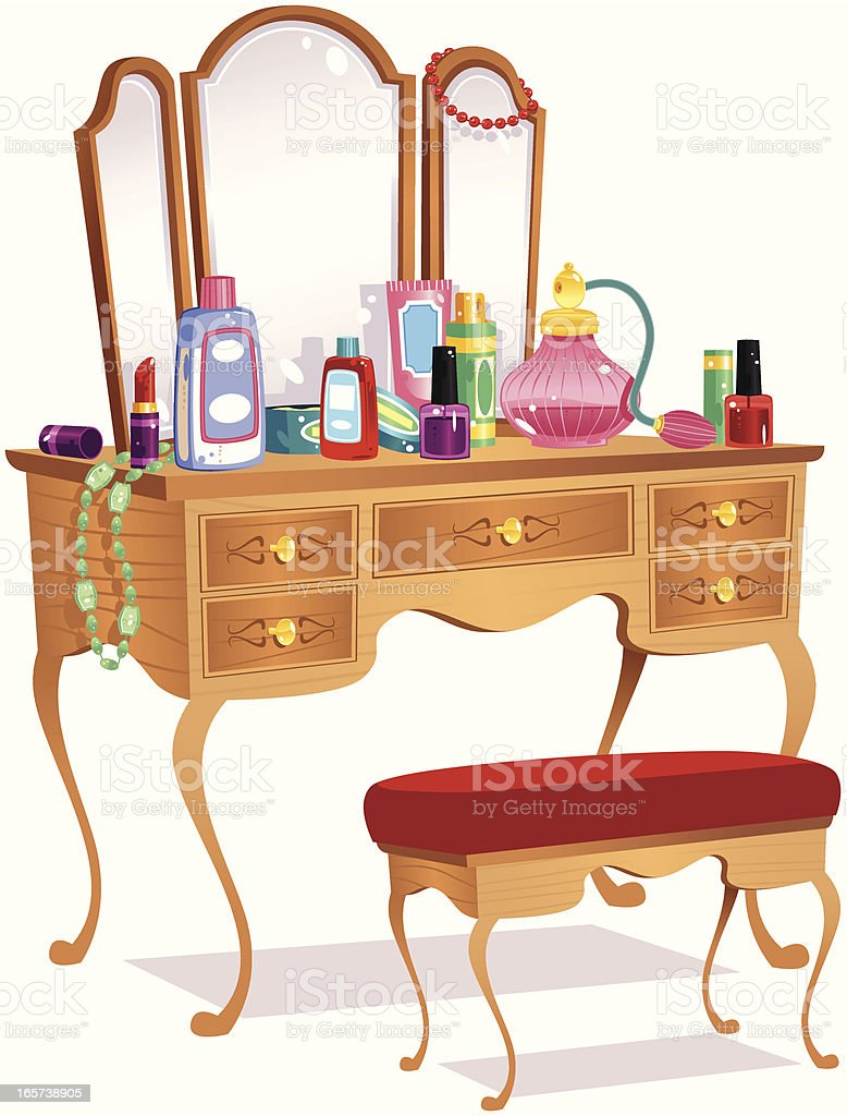 Vanity table and mirrors vector art illustration