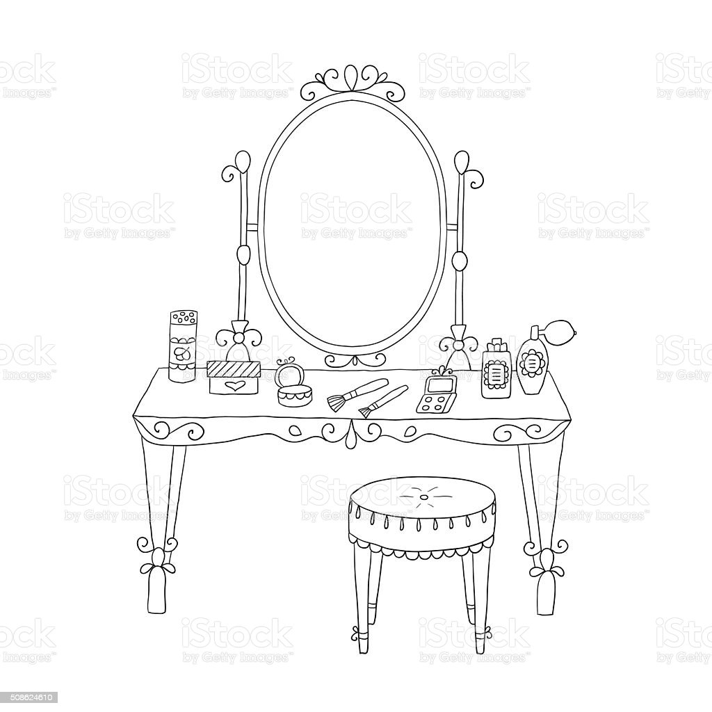 Vanity table with makeup and a chair vector art illustration