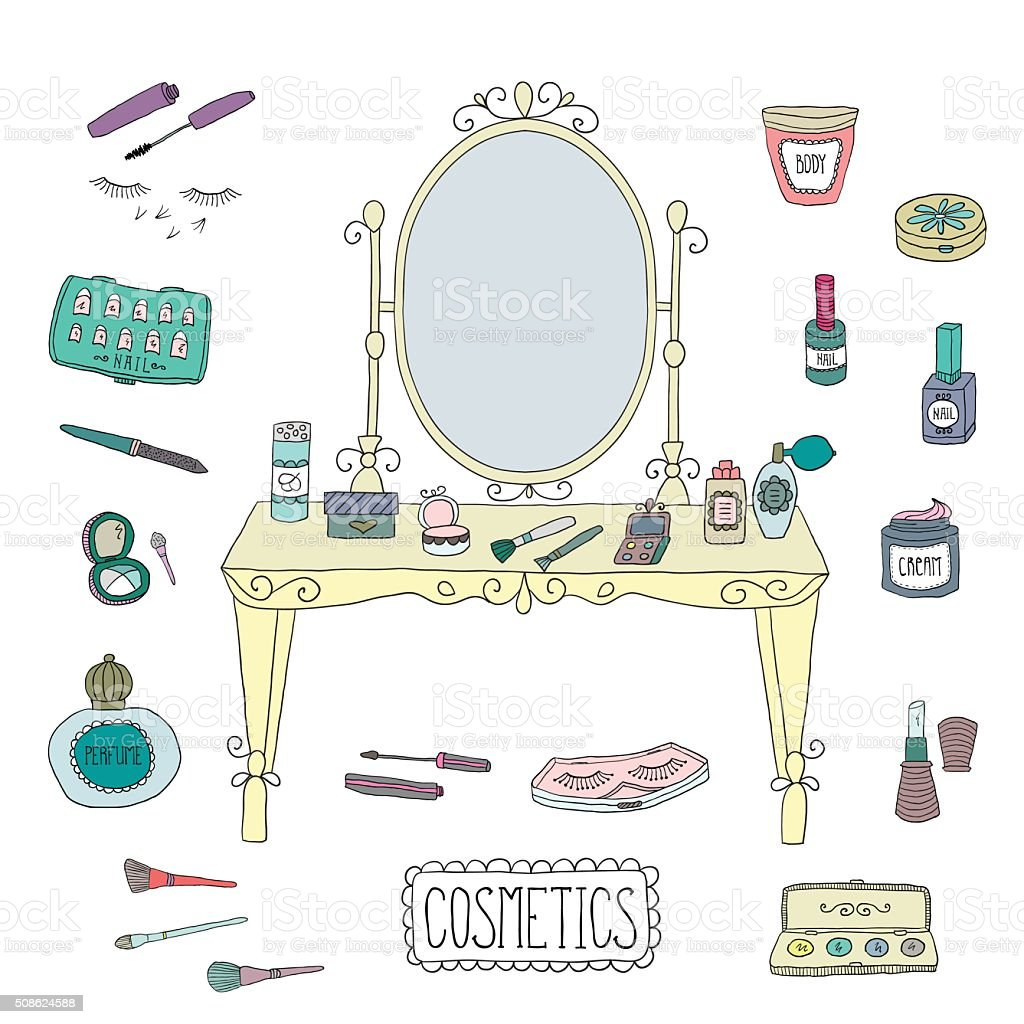Vanity table with mirror and makeup vector art illustration