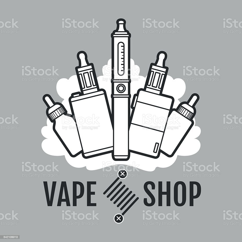 Vape label icon vector art illustration