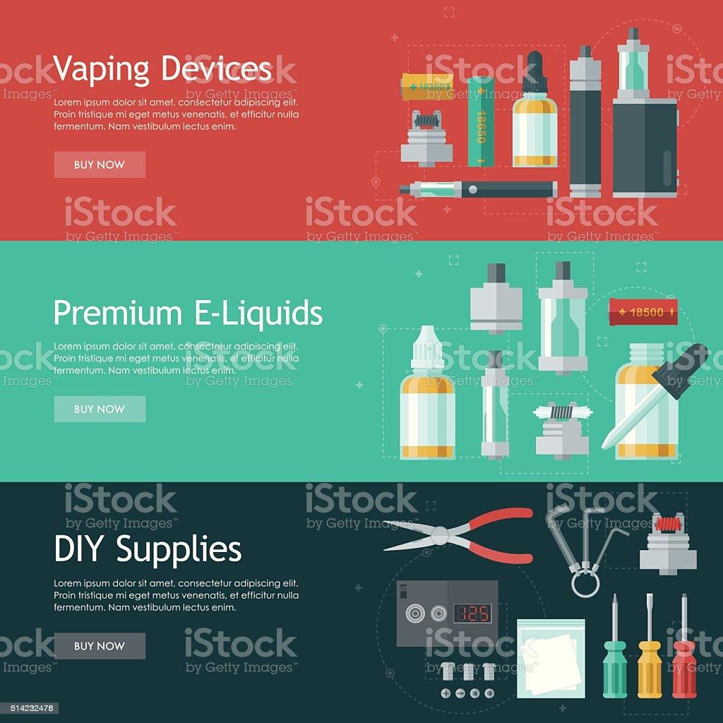 Vape Shop Banners Icon Set vector art illustration