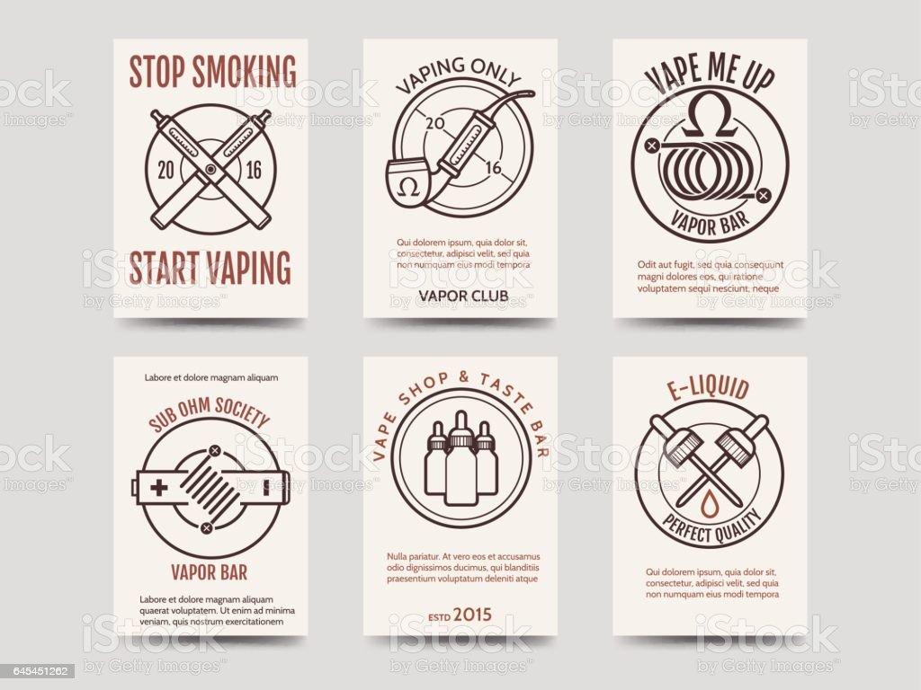Vape shop cards design vector art illustration