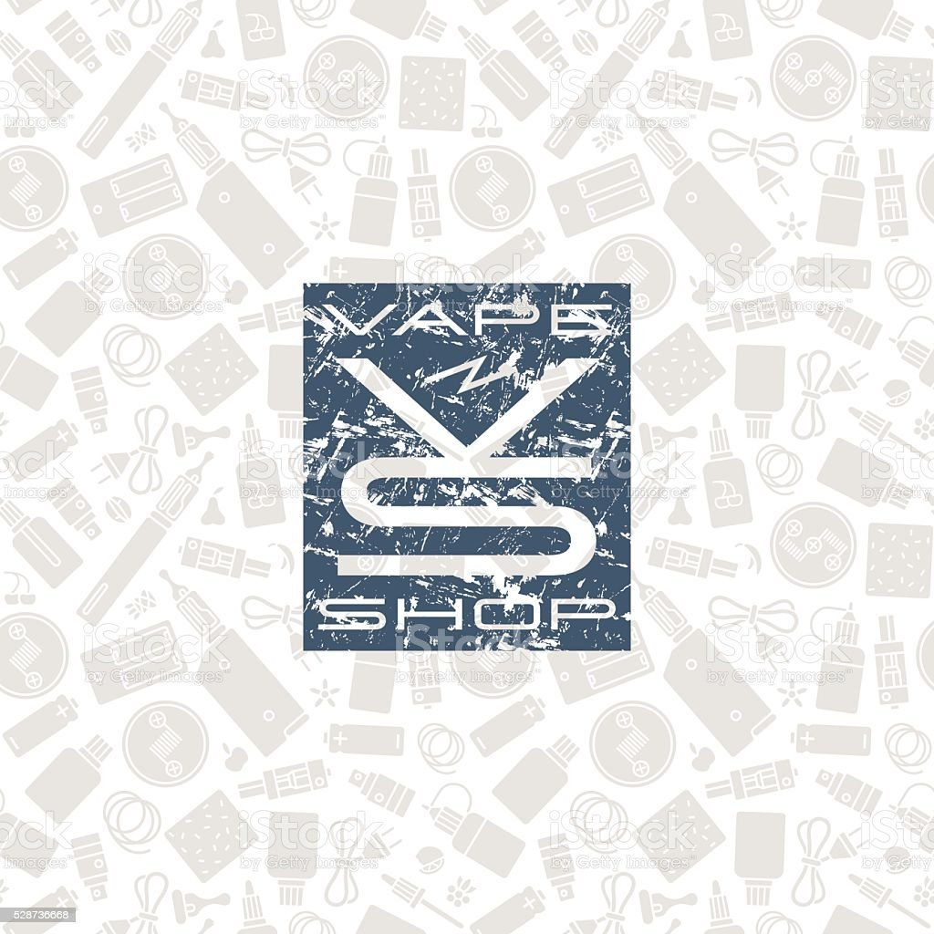 Vape shop seamless pattern and label vector art illustration
