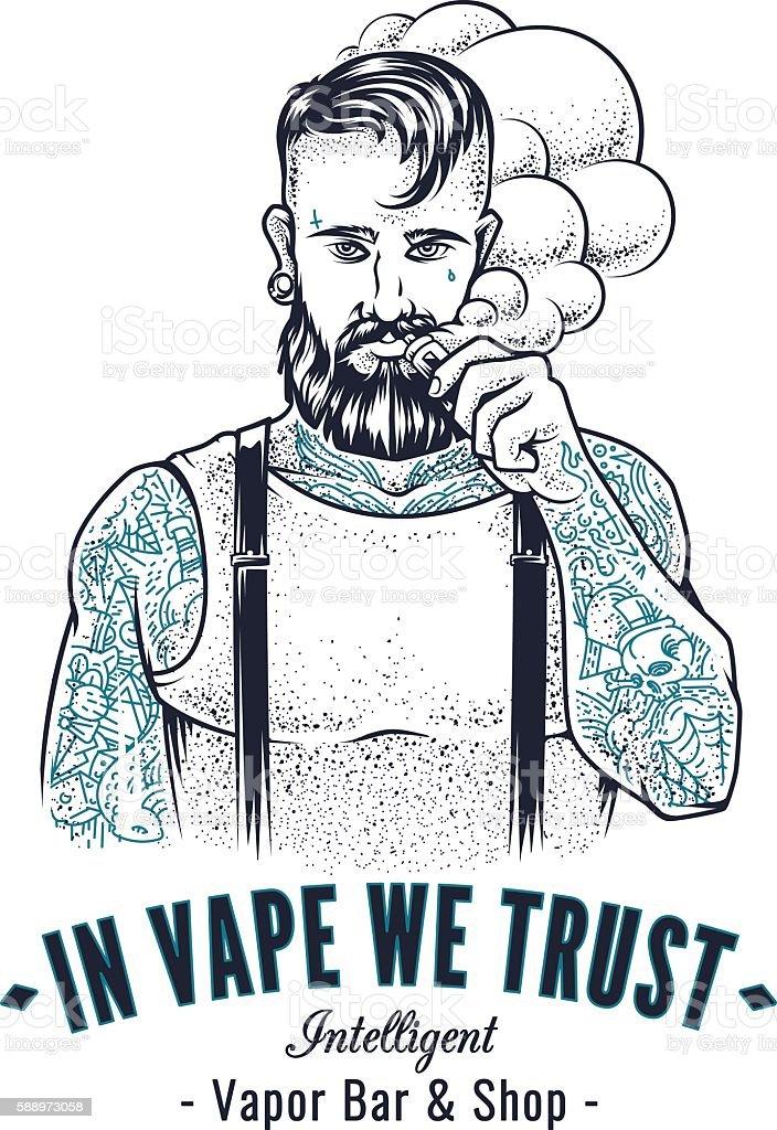 Vaper Hipster Art vector art illustration
