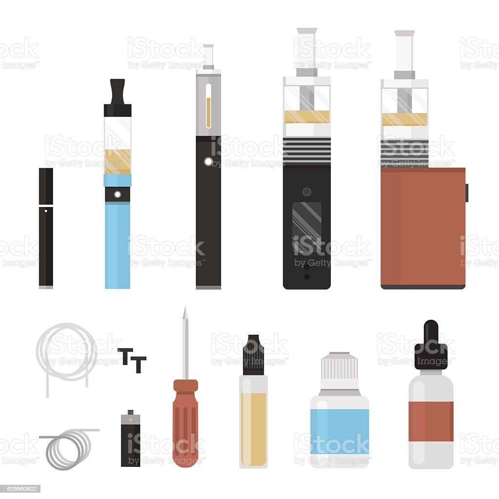 Vaping colored icon set. Vaporize, vape, e-cigarette, e-cig, electronic cigarette. vector art illustration