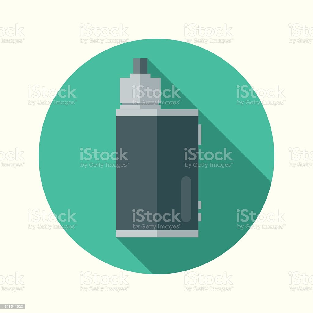 Vaping Electronic Cigarette Box Mod Flat Design Circular Icon vector art illustration