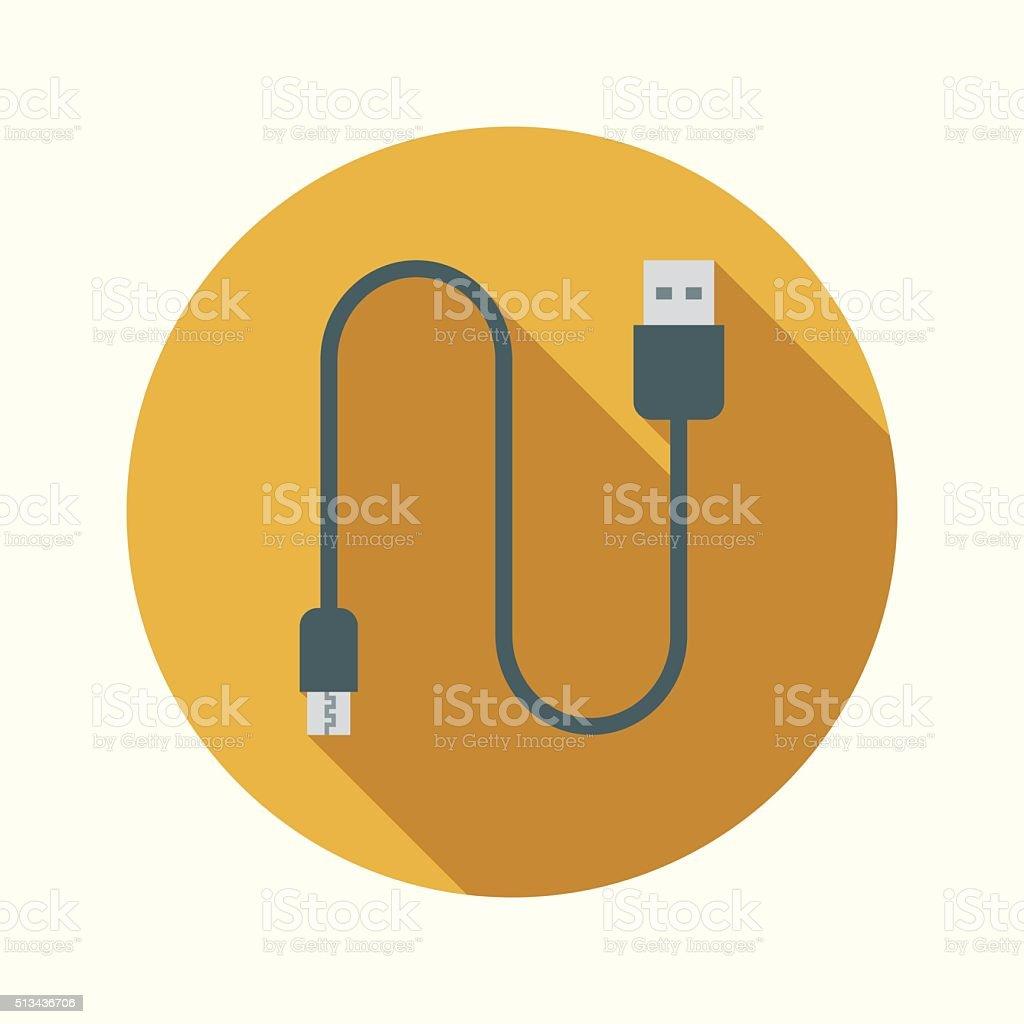 Vaping Electronic Cigarette Micro USB Cable Flat Design Circular Icon vector art illustration