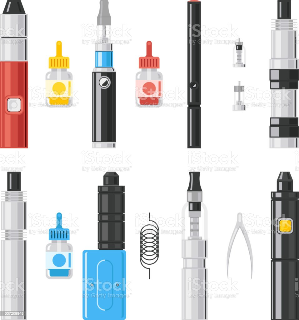 Vaping flat icons. Vaporizer cigarette electronic smoke signs vector art illustration
