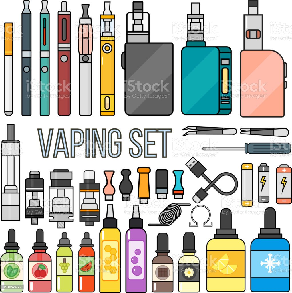 Vaping set vector. vector art illustration