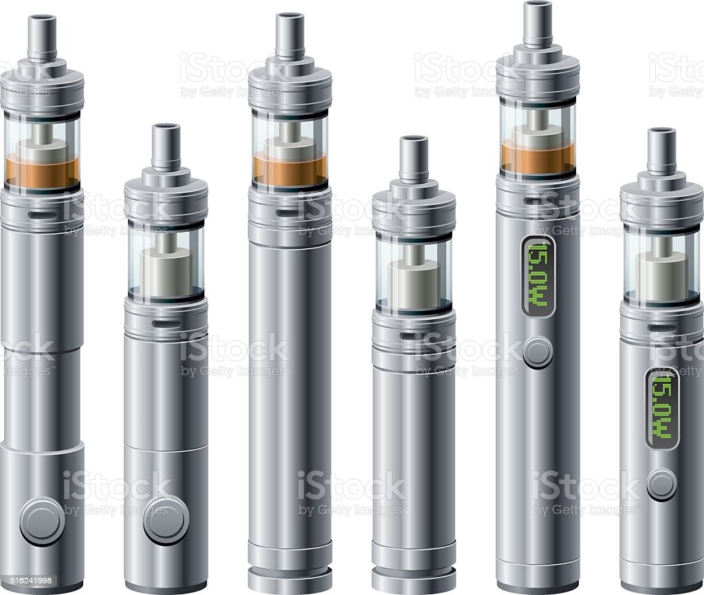 Vaping Tube Mods with Atomizers Icon Set vector art illustration
