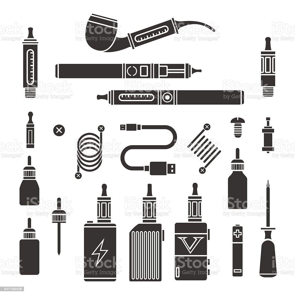 Vaping vector icons vector art illustration