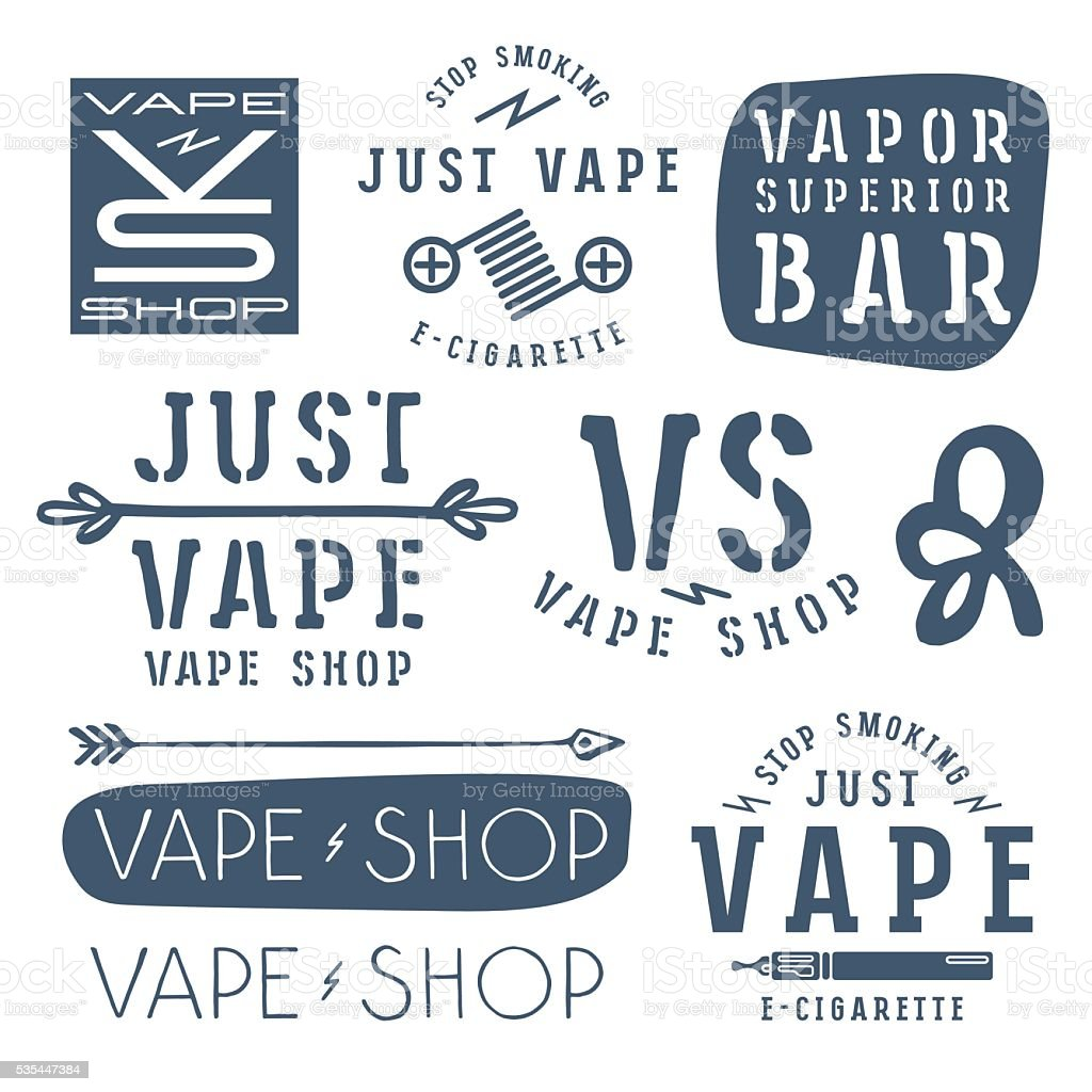 Vapor bar and vape shop labels vector art illustration