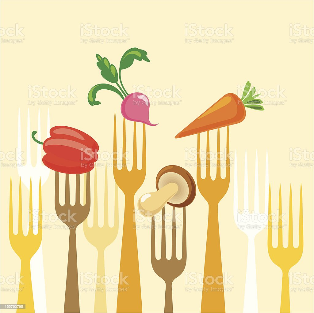 Variable vegetables on  forks royalty-free stock vector art