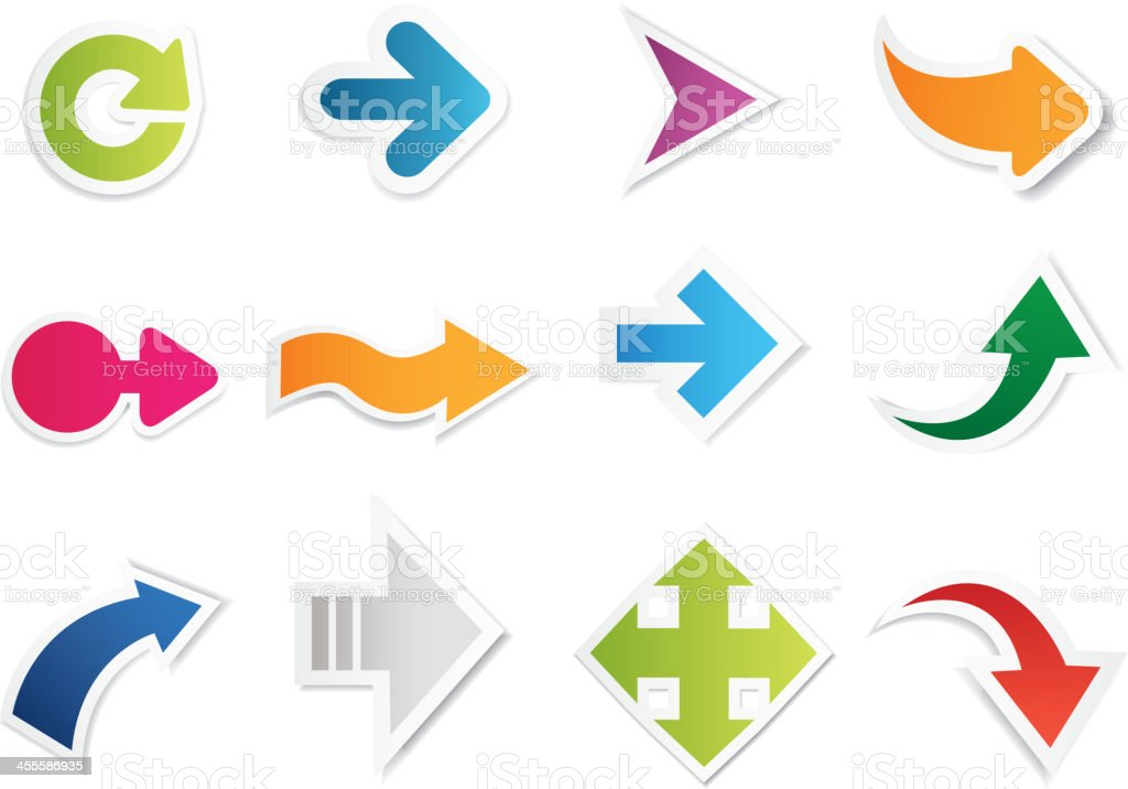 Variations of arrow symbols with different colors royalty-free stock vector art