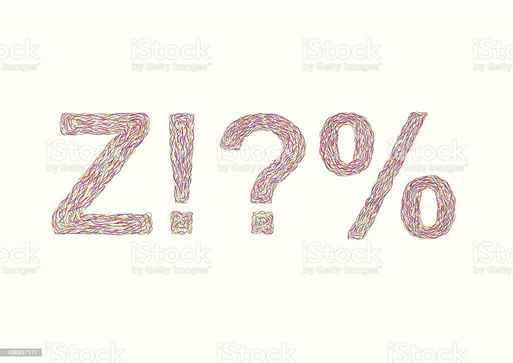 Varicolored symbols Z, !, ?, % royalty-free stock vector art