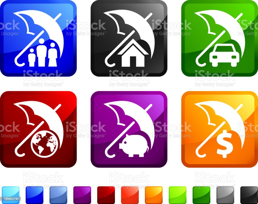Varied color stickers of Umbrella Financial Protection Concept vector art illustration