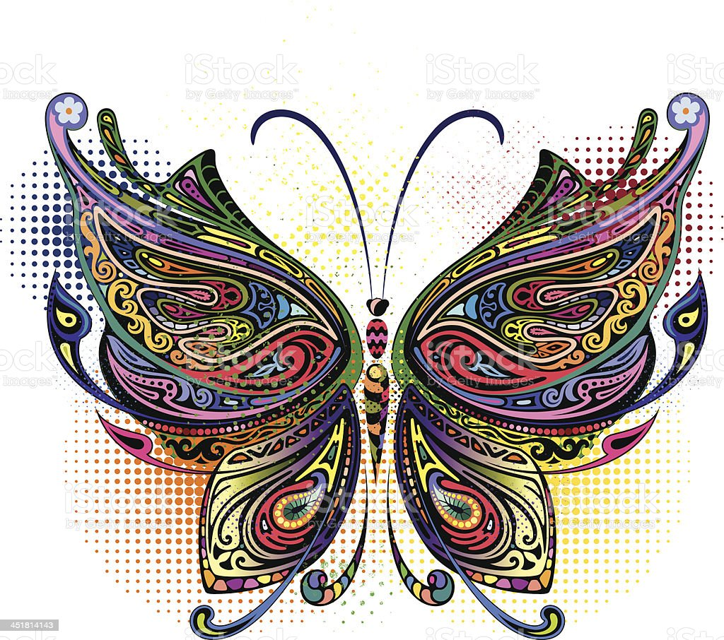 Variegated butterfly I royalty-free stock vector art