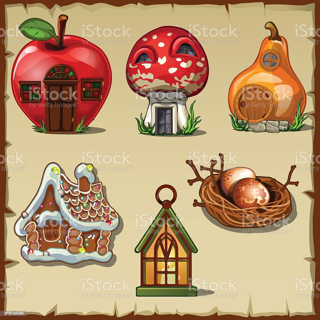 Variety gingerbread houses from a fairy tale vector art illustration