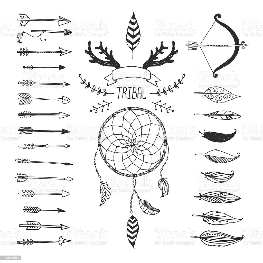 Variety of arrows and symbols in tribal design vector art illustration