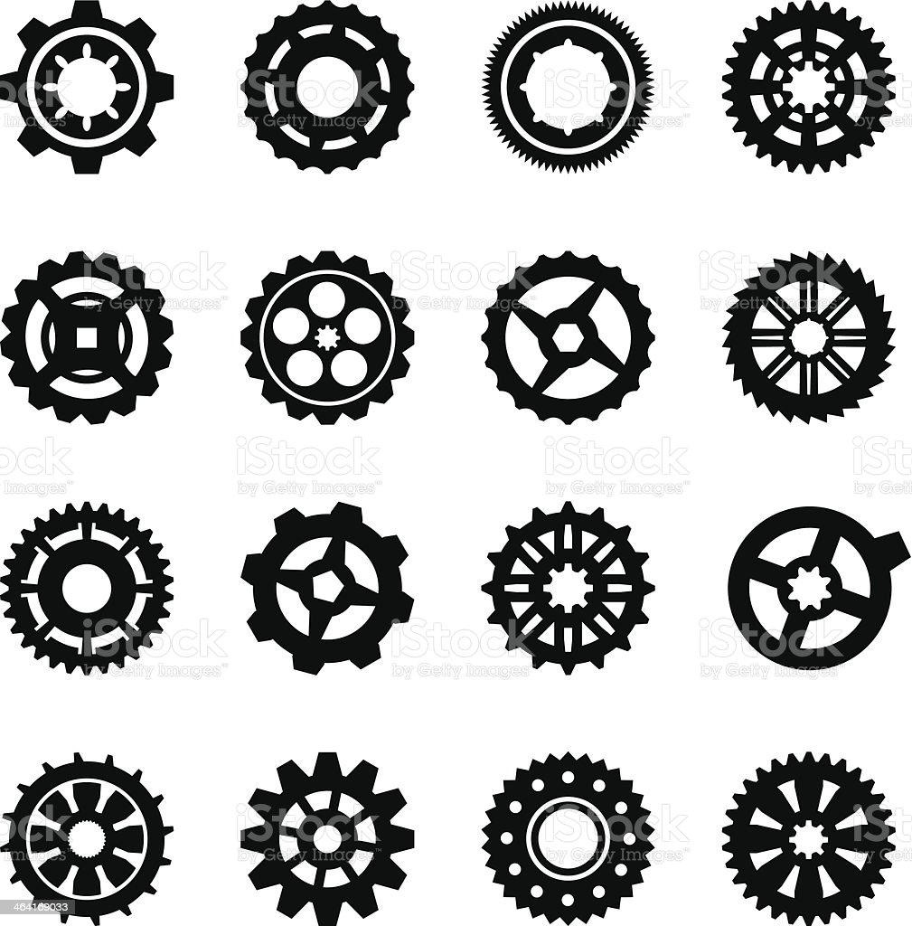 A variety of black and white gears vector art illustration