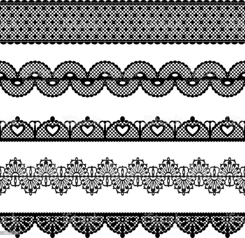 A variety of black and white seamless lace royalty-free stock vector art