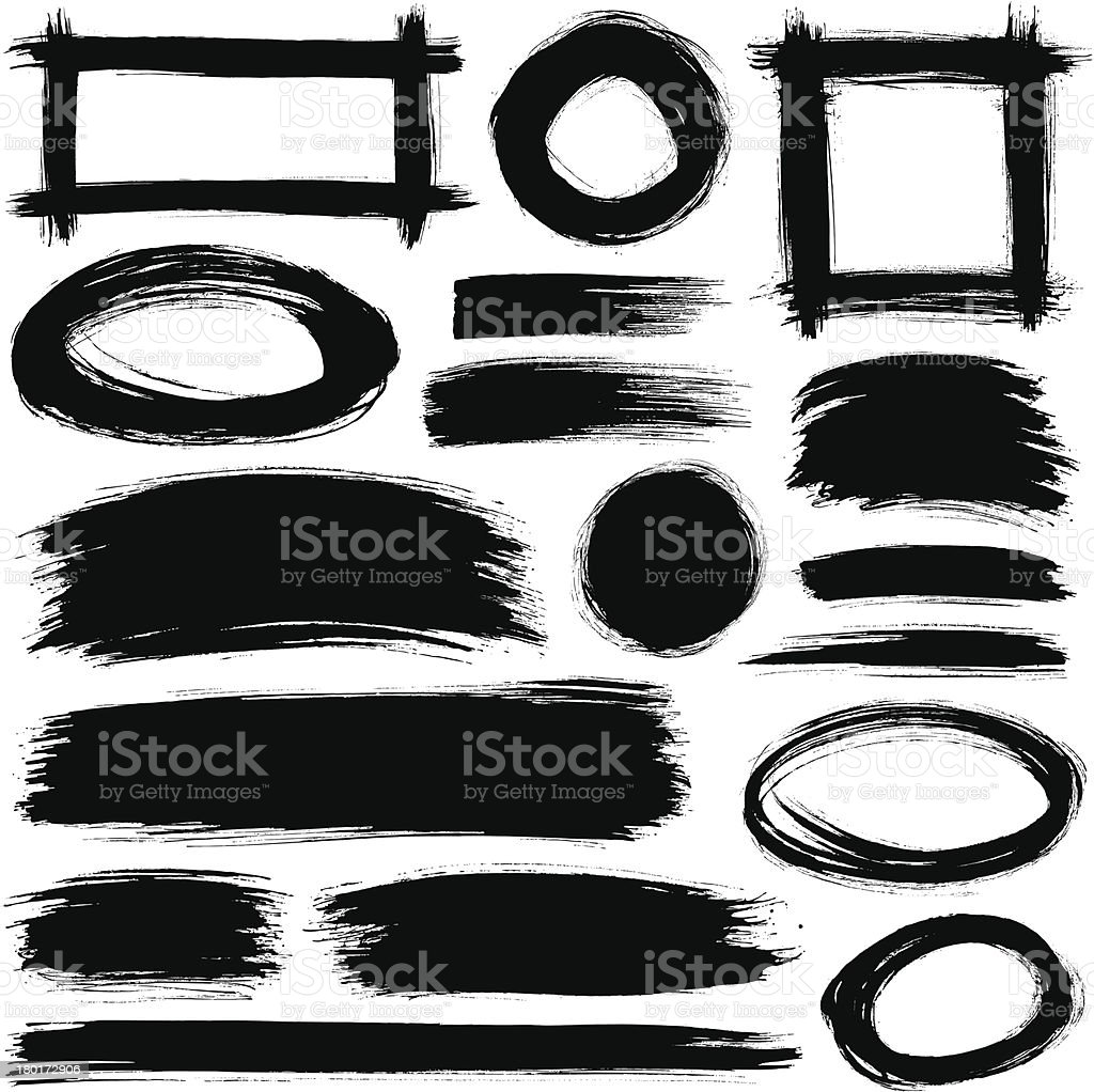 A variety of black brush strokes against a white background royalty-free stock vector art