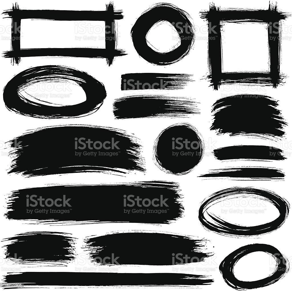 A variety of black brush strokes against a white background vector art illustration