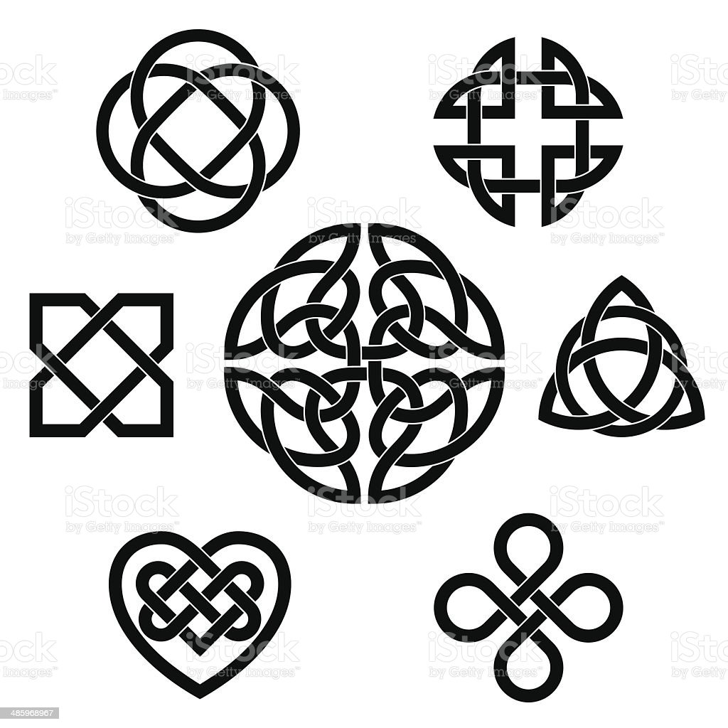 Variety of celtic knots vector art illustration
