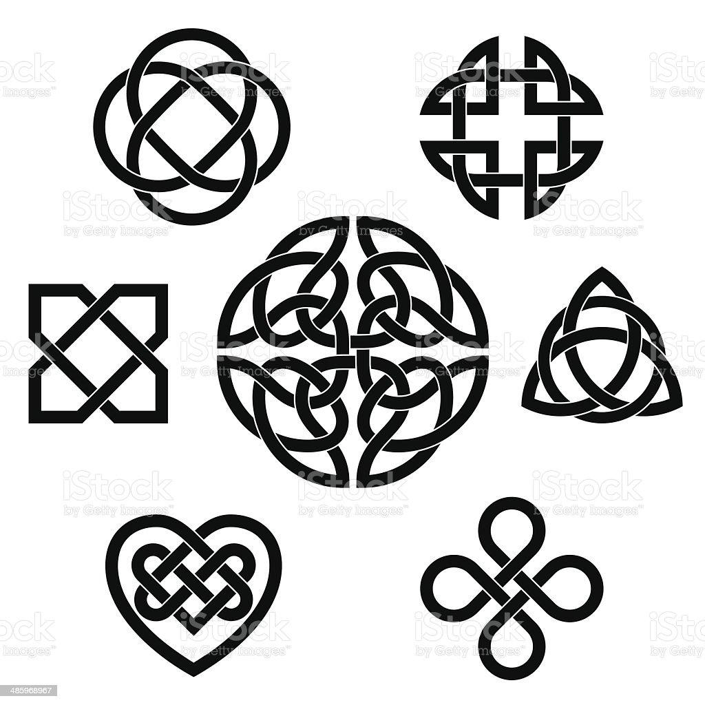 Variety of celtic knots vector art illustration