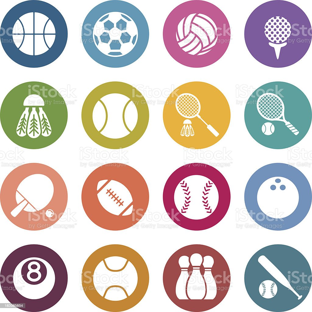Variety of colorful sporting icons vector art illustration