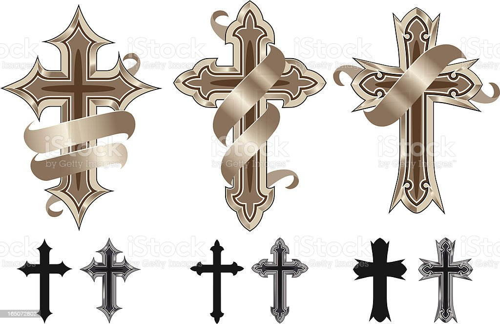 Variety of cross icons on a white background vector art illustration