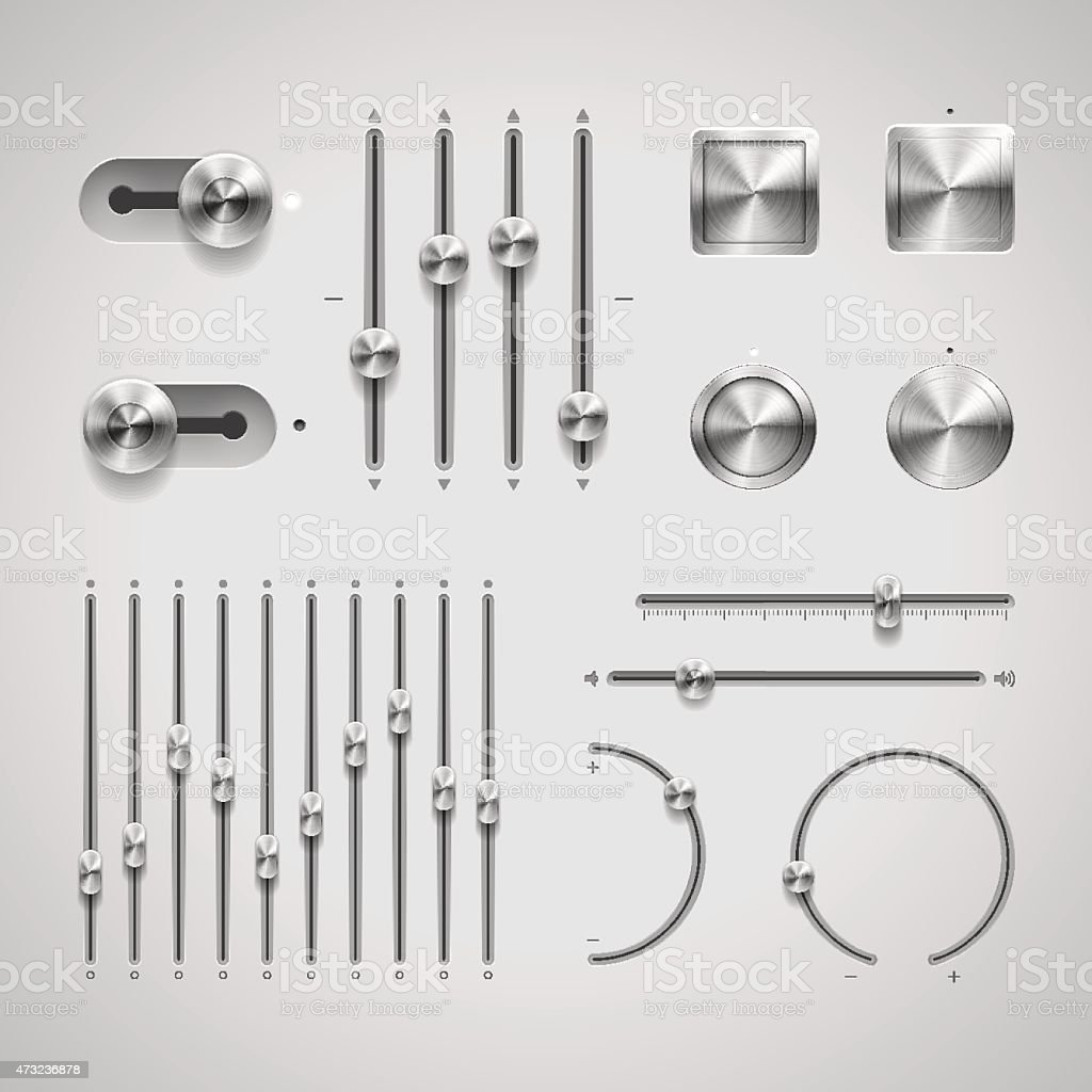 A variety of different buttons and knobs vector art illustration