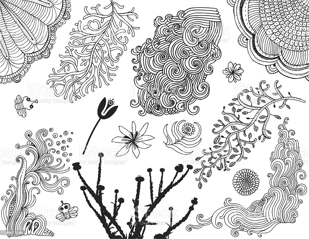 Variety of doodle plants, flowers and bees isolated on white vector art illustration