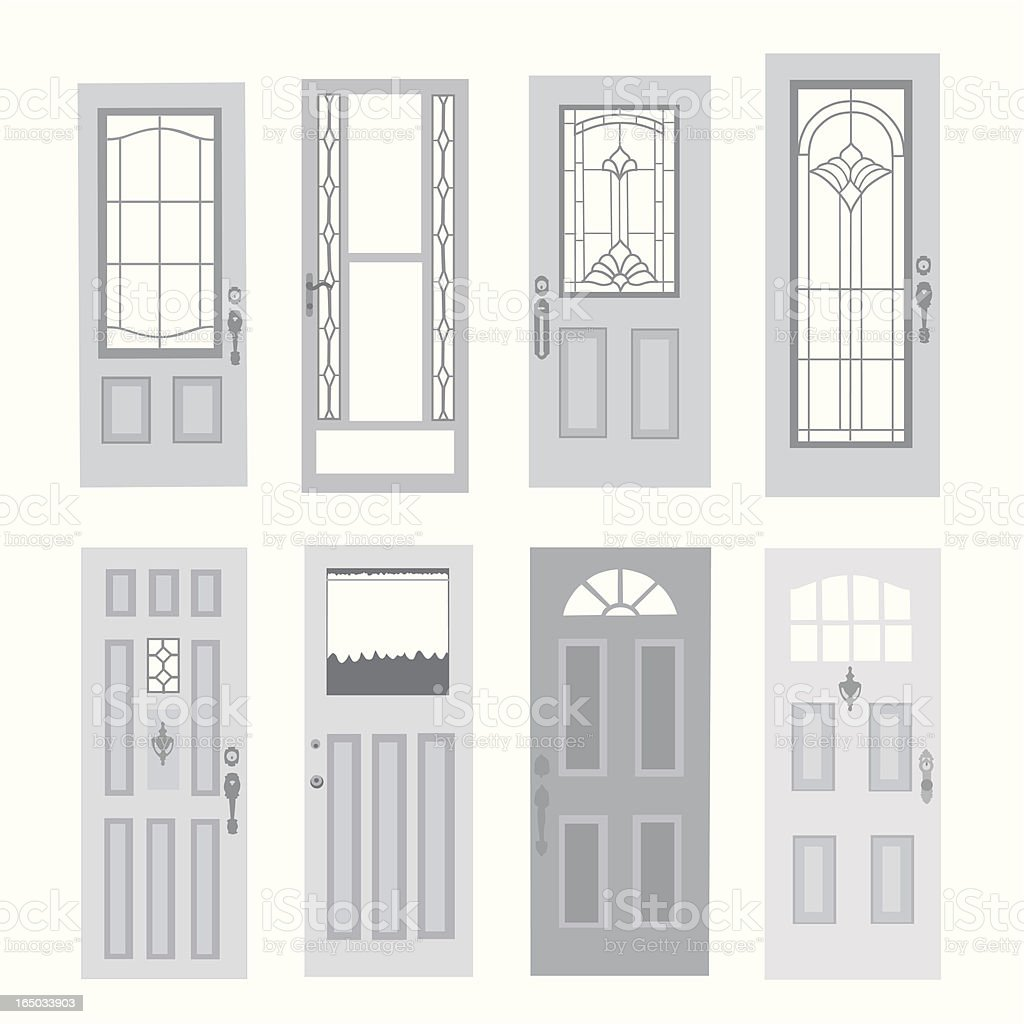 Variety of Doors Vector Silhouette vector art illustration